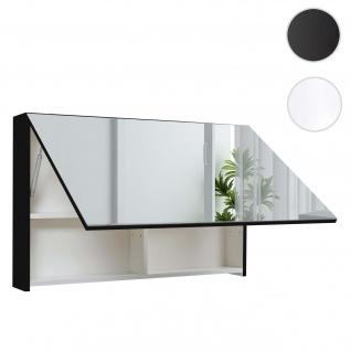 Spiegelschrank HWC-C11, Wandspiegel Badspiegel Badezimmer, aufklappbar hochglanz 58x90cm schwarz