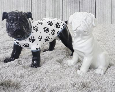 2er Set Deko Figuren Bulldogge 24cm+26cm, Skulptur Hund, In-/Outdoor Polyresin
