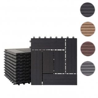 WPC Bodenfliese Rhone, Holzoptik Balkon/Terrasse, 11x je 30x30cm = 1qm ~ Basis, anthrazit versetzt