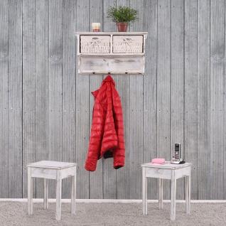 Garderobe Wandregal mit 2 Körben + 2x Beistelltisch, Shabby-Look, Vintage weiß