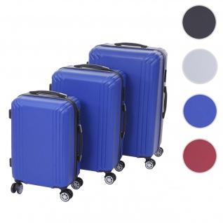 3er Set Koffer HWC-D54a, Reisekoffer Hartschalenkoffer Trolley Handgepäck, Höhe 72/60/50cm ~ blau, Premium