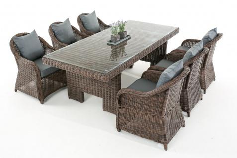 Garten-Garnitur CP065, Sitzgruppe Lounge-Garnitur, Poly-Rattan Kissen eisengrau, braun-meliert