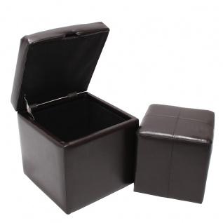 2er Set Hocker Sitzwürfel Sitzhocker Aufbewahrungsbox Onex, Leder + Kunstleder, 45x44x44cm braun