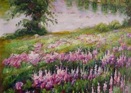 Ölgemälde Blumenwiese, 100% handgemaltes Wandbild XL, 80x80cm - Vorschau 4