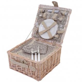 Picknickkorb-Set für 4 Personen, Picknicktasche + Kühlfach, Porzellan Glas Edelstahl, beige