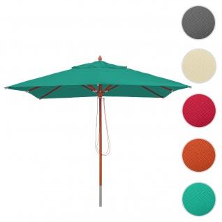 Gastronomie Holz-Sonnenschirm HWC-C57, Gartenschirm, Polyester/Holz 14kg, eckig 3x3m Seilzug stoßsicher ~ blau-grün