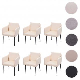 6x Esszimmerstuhl HWC-H93, Küchenstuhl Lehnstuhl Stuhl ~ Kunstleder creme-beige