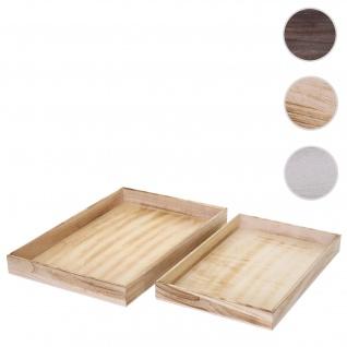 2er Set Schale T285, Kerzentablett Holztablett, Shabby-Look ~ naturbraun