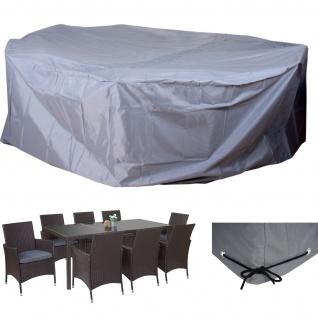 Abdeckplane Abdeckhaube Schutzplane Schutzhülle für Garnituren, beschichtetes Polyester grau Ø300cm