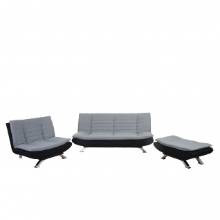2-1-1 Sofagarnitur Lissabon, Bettfunktion Textil grau/schwarz
