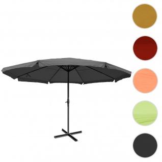 Sonnenschirm Meran Pro, Gastronomie Marktschirm mit Volant Ø 5m Polyester/Alu 28kg ~ anthrazit ohne Ständer
