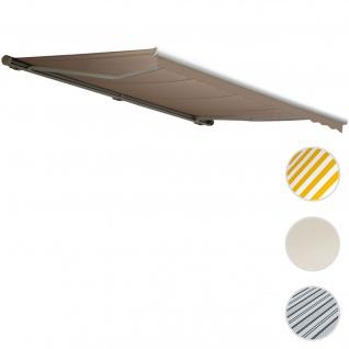Elektrische Kassetten-Markise T122, Vollkassette Volant 4x3m ~ Polyester Sand