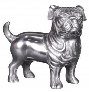 Deko Hund Bulldogge A072, Figur Dekofigur Tierfigur, Aluminium, 19x19x8cm