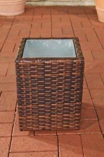 Poly-Rattan Blumenkübel CP001, Blumentopf ~ 35x27x27 cm, braun-meliert
