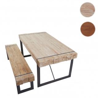 Esszimmergarnitur HWC-A15, Esstisch + 1x Sitzbank, Tanne Holz rustikal massiv ~ naturfarben 160cm