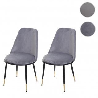 2x Esszimmerstuhl HWC-H28, Stuhl Küchenstuhl, Metall ~ grau, schwarze Beine, Samt