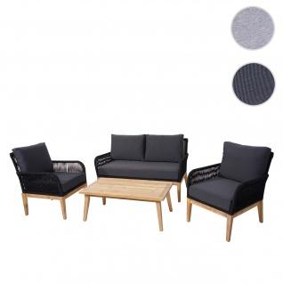 Gartengarnitur HWC-H58, Lounge-Set Sofa Sitzgruppe, Seilgeflecht Massivholz Akazie Spun Poly ~ Kissen dunkelgrau