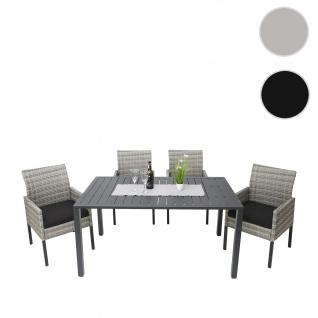 Gartengarnitur HWC-G12, Lounge-Set, Poly-Rattan 150x90cm ~ grau, Kissen anthrazit, Alu / halbrund / Spun Poly
