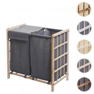 Wäschesammler HWC-B60, Laundry Wäschebox Wäschekorb, Massiv-Holz 2 Fächer 60x60x33cm 68l ~ hellbraun, Bezug grau