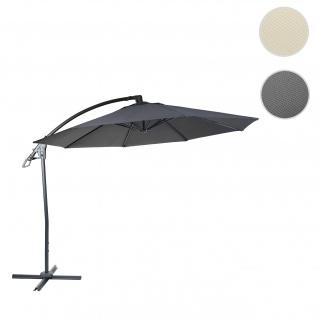 Deluxe Ampelschirm HWC-D14, Sonnenschirm, rund Ø 3m Polyester Alu/Stahl 14kg ~ anthrazit ohne Ständer
