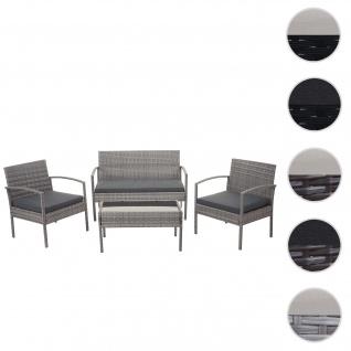 Poly-Rattan Garnitur HWC-F56, Balkon-/Garten-/Lounge-Set Sitzgruppe ~ grau, Kissen dunkelgrau