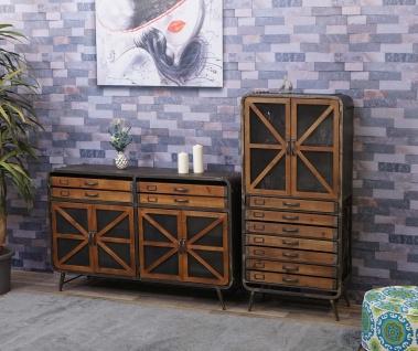 Wohnzimmer-Set HWC-F91, Sideboard Kommode Highboard Hochschrank, Industrial Tanne Holz Metall, braun-schwarz