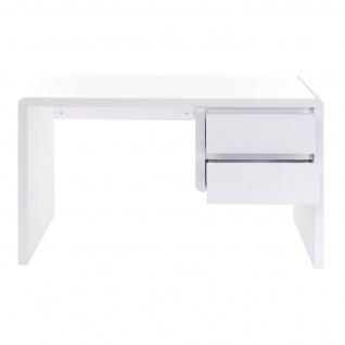 B-Ware Schreibtisch HWC-D74, Computertisch Bürotisch, hochglanz weiß 75x120x50cm - Vorschau 2