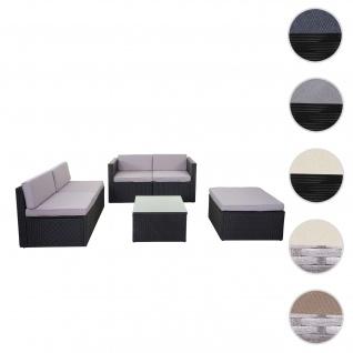 Poly-Rattan-Garnitur HWC-D24, Garten-/Lounge-Set Sofa ~ anthrazit, Polster hellgrau