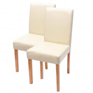2x Esszimmerstuhl Stuhl Küchenstuhl Littau ~ Kunstleder, creme, helle Beine