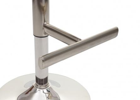 2x Barhocker HWC-A92, Barstuhl Tresenhocker, höhenverstellbar Kunstleder ~ grau, Fuß gebürstet - Vorschau 3