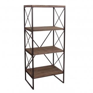 Bücherregal HWC-C10, Standregal Wohnregal, Echtholz Metall ~ 4 Ebenen, 142x60cm