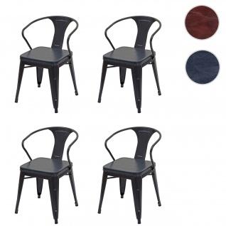 4x Esszimmerstuhl HWC-H10d, Stuhl Küchenstuhl, Chesterfield Metall Kunstleder Industrial Gastronomie ~ schwarz-grau
