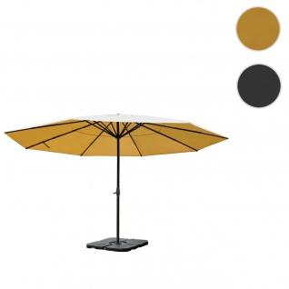 Sonnenschirm Meran Pro, Gastronomie Marktschirm ohne Volant Ø 5m Polyester/Alu 28kg creme mit Ständer