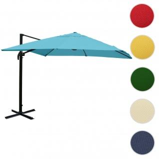 Gastronomie-Ampelschirm HWC-A96, Sonnenschirm, 3x4m (Ø5m) Polyester/Alu 26kg ~ türkis ohne Ständer, drehbar