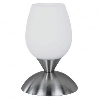 Reality|Trio Tischleuchte Tischlampe Touch Me, nickel matt Glas opal matt weiß