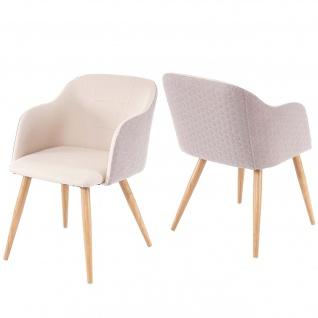 2x Esszimmerstuhl HWC-D71, Stuhl Küchenstuhl, Retro Design, Armlehnen Stoff/Textil ~ creme-beige - Vorschau 3