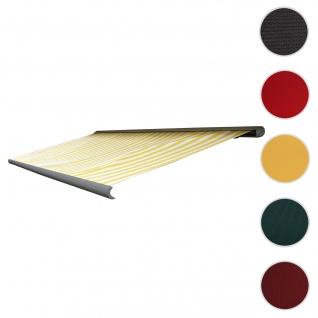 Bezug für Markise T123, Vollkassette Ersatzbezug Sonnenschutz 4, 5x3m ~ Acryl gelb-weiß