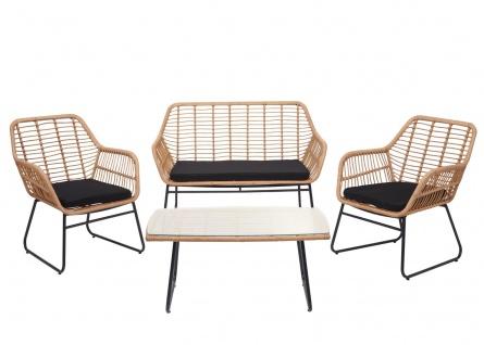 Polyrattan Garnitur HWC-G17a, Gartengarnitur Sofa Set Sitzgruppe ~ naturfarben, Polster anthrazit mit Dekokissen - Vorschau 4