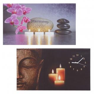 2x LED-Bild, Leinwandbild Leuchtbild Wandbild, Timer Buddha/Harmony Wanduhr 70x40cm