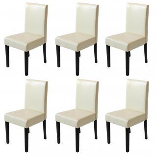 6x Esszimmerstuhl Stuhl Küchenstuhl Littau ~ Kunstleder, creme, dunkle Beine