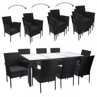 Poly-Rattan Garnitur HWC-F49, Gartengarnitur Sitzgruppe, stapelbar 190x90cm anthrazit, Kissen dunkelgrau