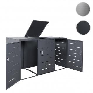 XL 3er-/6er-Mülltonnenverkleidung HWC-E83, Mülltonnenbox Mülltonnenabdeckung, erweiterbar 108x66x94cm ~ Stahl anthrazit