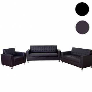 3-2-1 Sofagarnitur Kunda, Couch Loungesofa Kunstleder, Metall-Füße ~ coffee