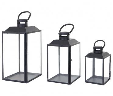 3er Set Laterne HWC-B38, Windlicht Gartenlaterne, Metall Höhe 42/33/24cm - Vorschau 3