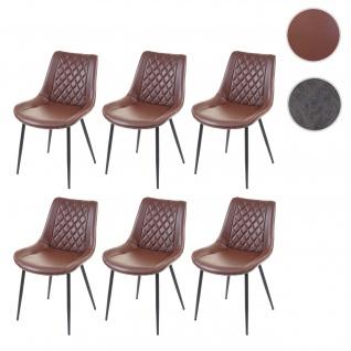 6x Esszimmerstuhl HWC-E56, Stuhl Küchenstuhl, Vintage Kunstleder braun
