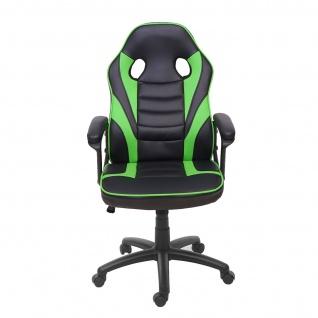 Bürostuhl HWC-F59, Schreibtischstuhl Drehstuhl Racing Chair Gaming-Chair, Kunstleder ~ schwarz/grün - Vorschau 2