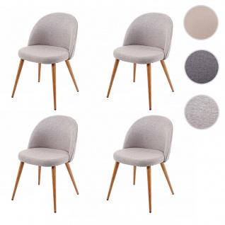 4x Esszimmerstuhl HWC-D53, Stuhl Küchenstuhl, Retro 50er Jahre Design, Stoff/Textil ~ hellgrau