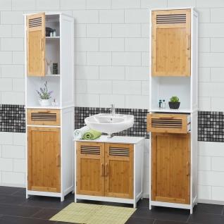Badezimmerset HWC-A85, Badmöbel 2x Hochschrank Waschbeckenunterschank Bambus, weiß