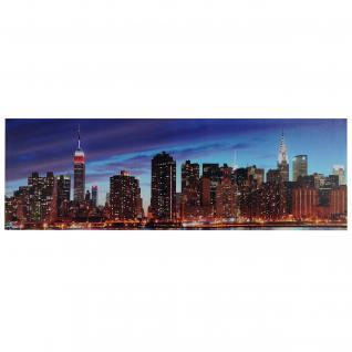 LED-Bild, Leinwandbild Leuchtbild Wandbild, Timer ~ 120x40cm New York, flackernd