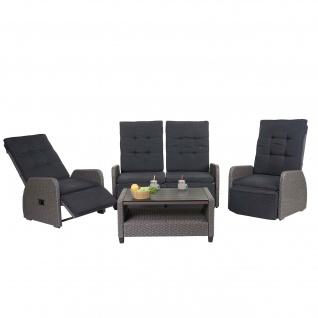 Garnitur HWC-J35, Lounge-Set Sitzgruppe Sofa, Spun Poly halbrundes Poly-Rattan ~ grau, Kissen anthrazit - Vorschau 2